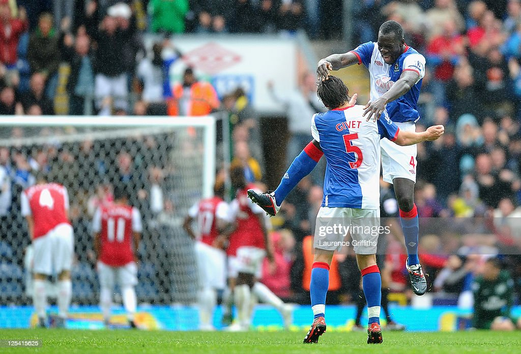 Chris Samba and <a gi-track='captionPersonalityLinkClicked' href=/galleries/search?phrase=Gael+Givet&family=editorial&specificpeople=490872 ng-click='$event.stopPropagation()'>Gael Givet</a> of Blackburn celebrate after the fourth goal during the Barclays Premier League match between Blackburn Rovers and Arsenal at Ewood Park on September 17, 2011 in Blackburn, England.
