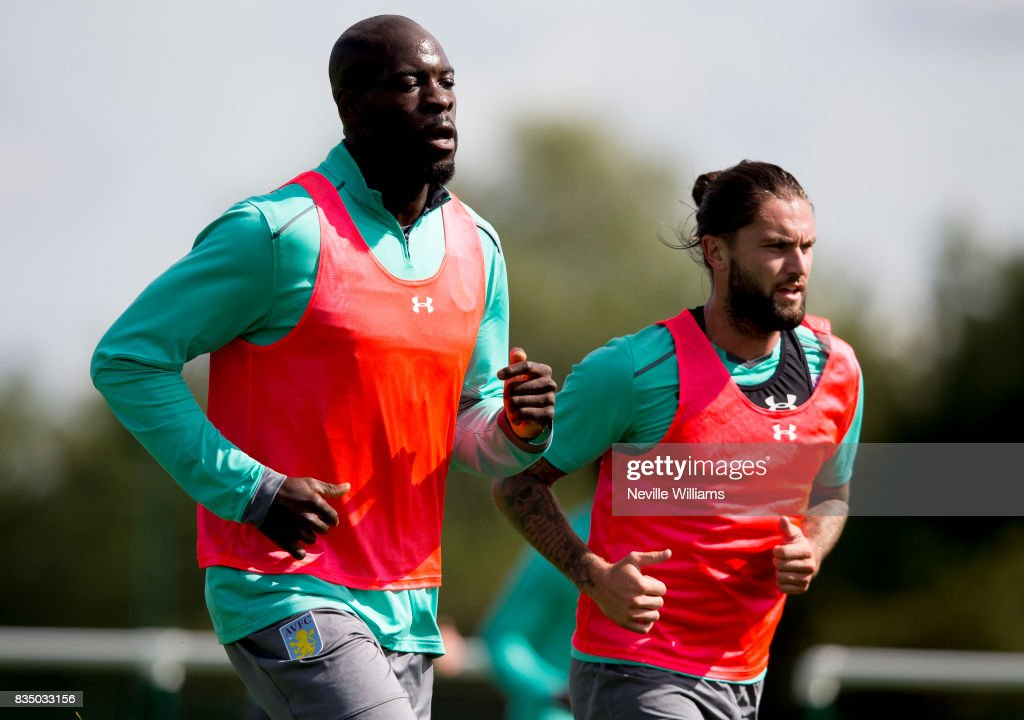 Chris Samba of Aston Villa in action during a training session at the club's training ground at Bodymoor Heath on August 18, 2017 in Birmingham, England.