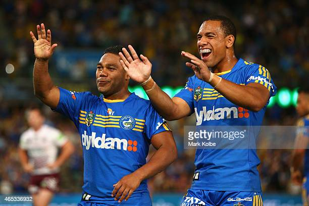Chris Sandow and Will Hopoate of the Eels celebrate after an Eels try during the round one NRL match between the Parramatta Eels and the Manly Sea...