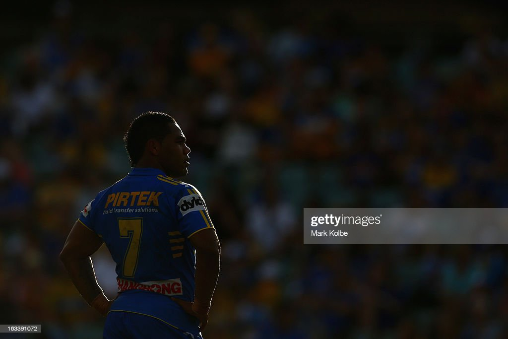 Chris Sandow of the Eels looks on during the round one NRL match between the Parramatta Eels and the Warriors at Parramatta Stadium on March 9, 2013 in Sydney, Australia.