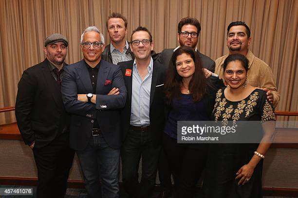Chris Santos Geoffrey Zakarian Marc Murphy Ted Allen Scott Conant Alex Guarnaschelli Maneet Chauhan and Aaron Sanchez pose at CHOPPED Best Bloody...