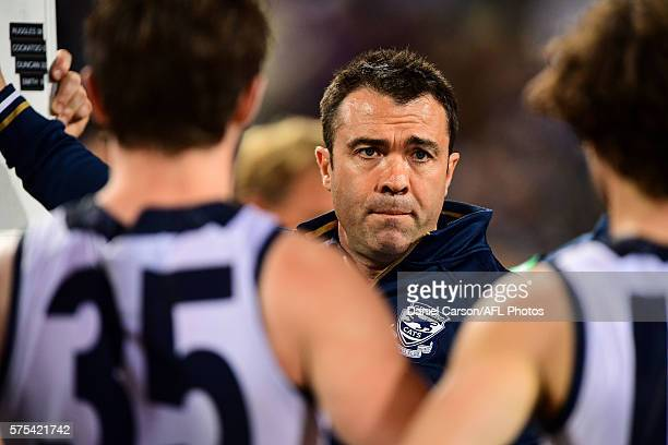 Chris Scott coach of the Cats addresses the team at quarter time during the 2016 AFL Round 17 match between the Fremantle Dockers and the Geelong...