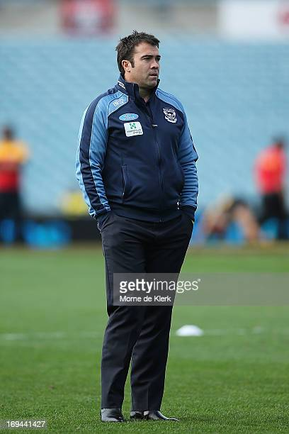 Chris Scott of Geelong looks on before the round nine AFL match between Port Adelaide Power and the Geelong Cats at AAMI Stadium on May 25 2013 in...