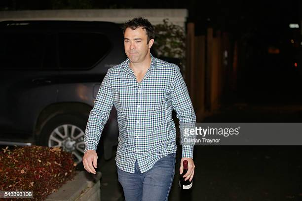Chris Scott Senior Coach of the Cats arrives for an AFL coaches dinner hosted by AFL CEO Gillon McLachlan at his Melbourne home on June 28 2016 in...