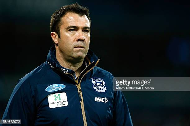 Chris Scott Senior Coach of the Cats looks on during the 2016 AFL Round 19 match between the Geelong Cats and the Western Bulldogs at Simonds Stadium...