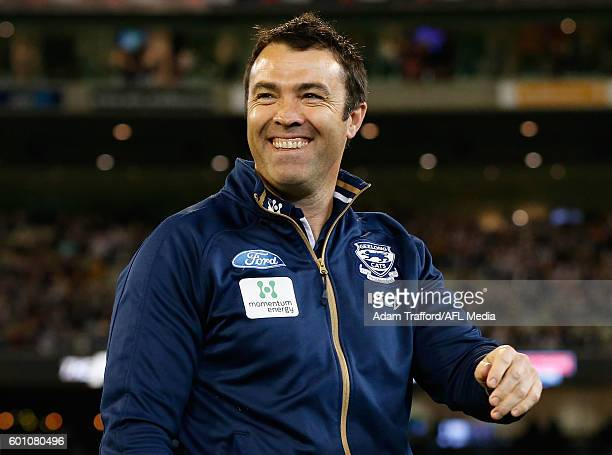 Chris Scott Senior Coach of the Cats looks on during the 2016 AFL Second Qualifying Final match between the Geelong Cats and the Hawthorn Hawks at...