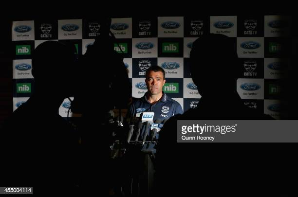Chris Scott the coach of the Cats speaks to the media during a Geelong Cats AFL media session at Simonds Stadium on September 9 2014 in Geelong...