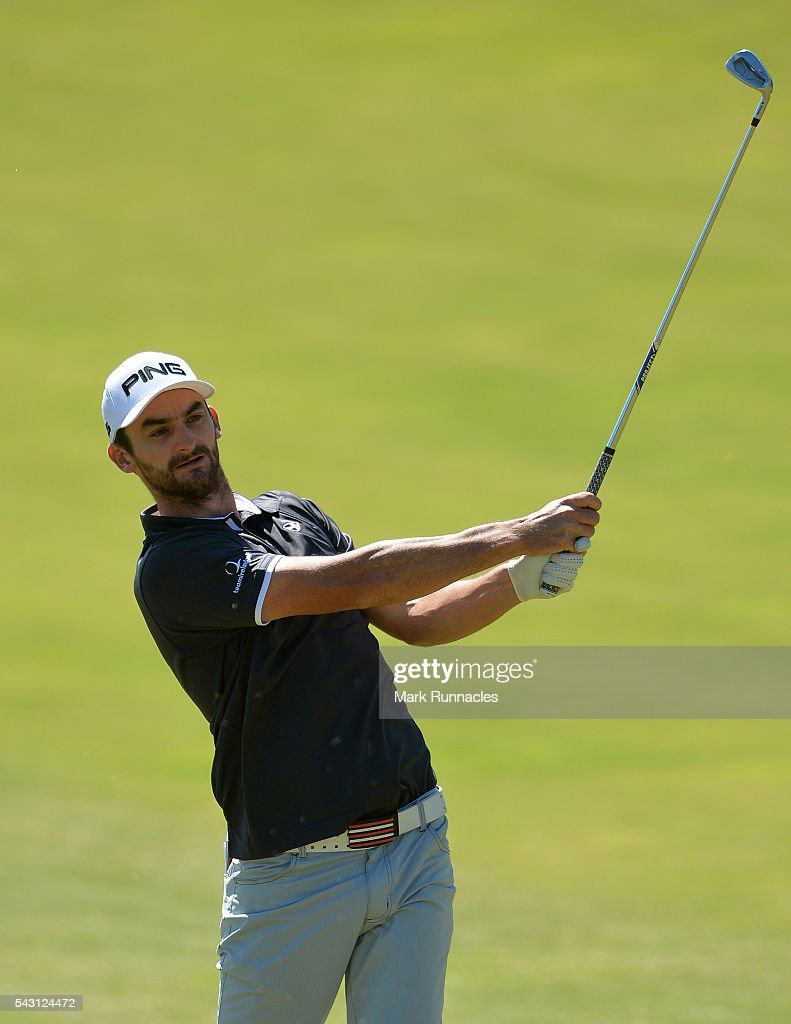 Chris Selfridge of Northern Ireland second shot to the 1st during the final day of the 2016 SSE Scottish Hydro Challenge at the MacDonald Spey Valley Golf Course on June 26, 2016 in Aviemore, Scotland.