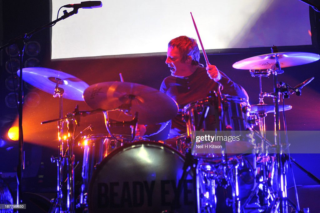 Chris Sharrock of Beady Eye performs on stage at O2 Academy on November 12, 2013 in Leeds, England.