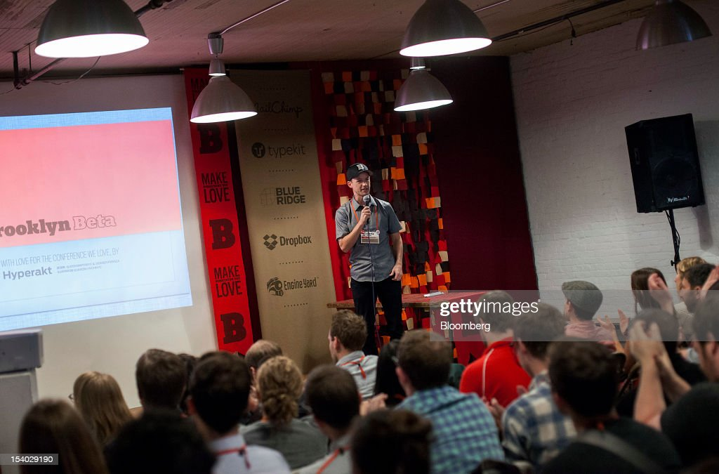 <a gi-track='captionPersonalityLinkClicked' href=/galleries/search?phrase=Chris+Shiflett&family=editorial&specificpeople=614306 ng-click='$event.stopPropagation()'>Chris Shiflett</a>, a co-founder of Brooklyn Beta, speaks during the Brooklyn Beta conference in the Brooklyn borough of New York, U.S., on Friday, Oct. 12, 2012. Brooklyn Beta is a small web conference aimed at gathering web designers, developers, and entrepreneurs together to discuss meaningful problems in the industry. Photographer: Mark Ovaska/Bloomberg via Getty Images