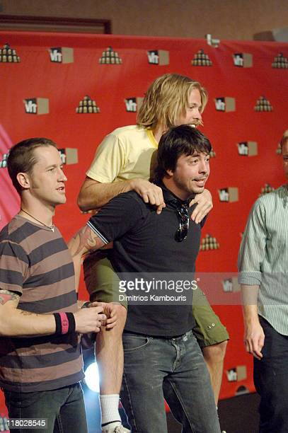 Chris Shiflett Taylor Hawkins Dave Grohl and Nate Mendel of Foo Fighters