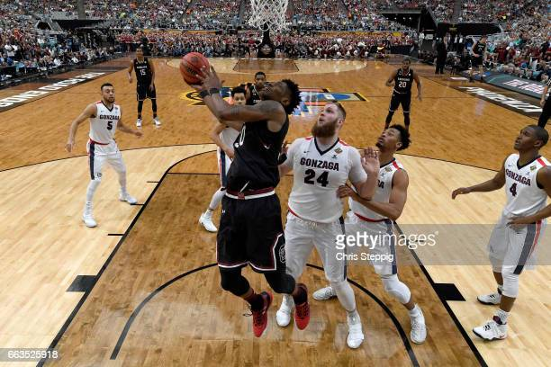 Chris Silva of the South Carolina Gamecocks goes in for a layup against Przemek Karnowski of the Gonzaga Bulldogs during the 2017 NCAA Men's Final...