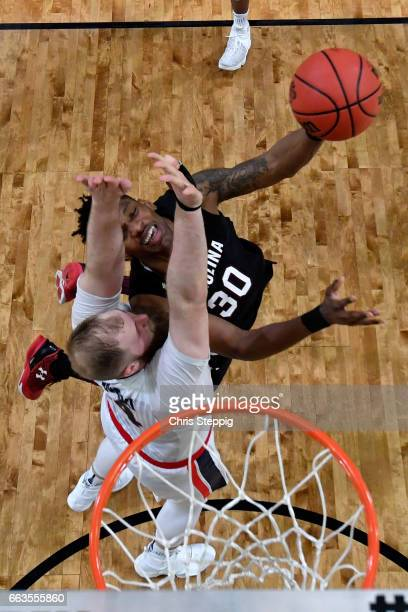 Chris Silva of the South Carolina Gamecocks shoots the ball against Przemek Karnowski of the Gonzaga Bulldogs during the 2017 NCAA Men's Final Four...