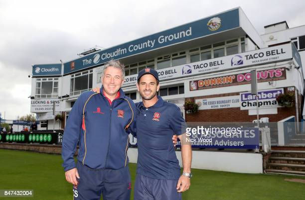 Chris Silverwood and Ryan ten Doeschate of Essex pose infront of the pavilion as Essex Celebrate winning the Specsavers County Championship at the...