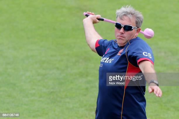 Chris Silverwood Essex head coach warms up prior to the Royal London OneDay Cup between Kent and Essex at the Spitfire Ground on May 17 2017 in...