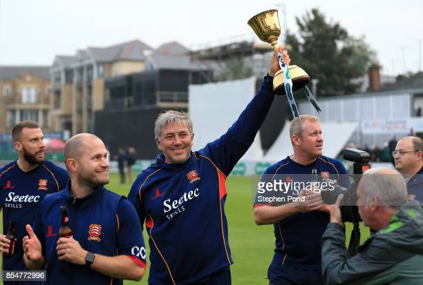 Chris Silverwood Head Coach of Essex lifts the County Championship trophy during day three of the Specsavers County Championship Division One match...
