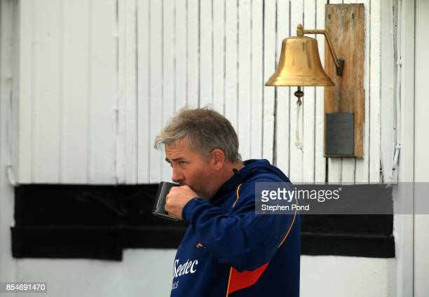 Chris Silverwood Head Coach of Essex look on from the players balcony during day three of the Specsavers County Championship Division One match...