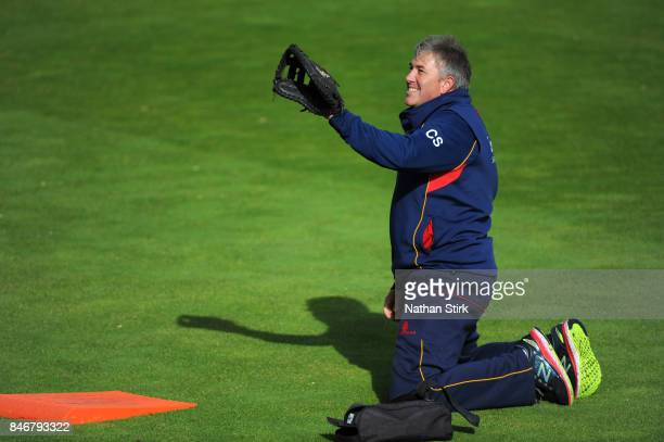Chris Silverwood head coach of Essex looks on during the County Championship Division One match between Warwickshire and Essex at Edgbaston on...