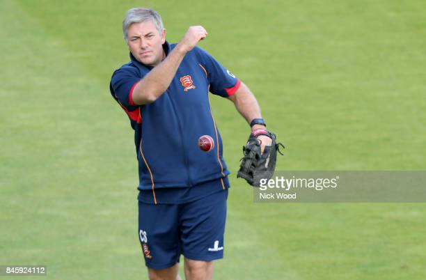 Chris Silverwood of Essex leads the bowlers warm up prior to the Warwickshire v Essex Specsavers County Championship Division One cricket match at...