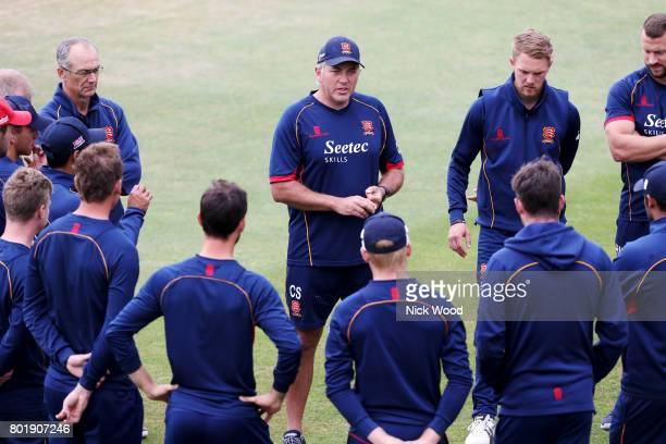 Chris Silverwood of Essex leads the team talk prior to the Essex v Middlesex Specsavers County Championship Division One cricket match at the Cloudfm...