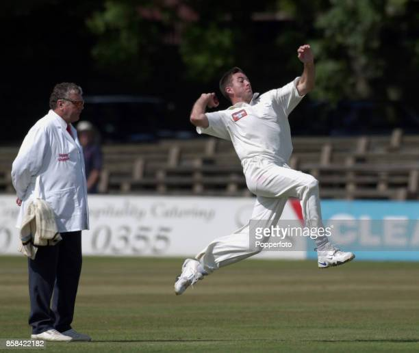 Chris Silverwood of Yorkshire bowling during the PPP Healthcare County Championship match between Leicestershire and Yorkshire at Grace Road on...