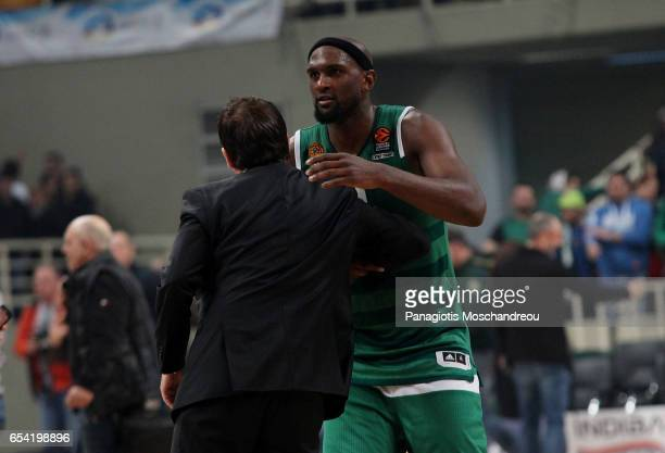 Chris Singleton #0 and Xavi Pascual Head Coach of Panathinaikos Superfoods Athens react during the 2016/2017 Turkish Airlines EuroLeague Regular...