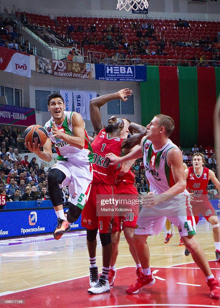 <a gi-track='captionPersonalityLinkClicked' href=/galleries/search?phrase=Chris+Singleton&family=editorial&specificpeople=241555 ng-click='$event.stopPropagation()'>Chris Singleton</a>, #1 of Lokomotiv Kuban Krasnodar during the Turkish Airlines Euroleague Basketball Regular Season date 4 game between Lokomotiv Kuban Krasnodar v Pinar Karsiyaka Izmir at Basket Hall on November 6, 2015 in Krasnodar, Russia.