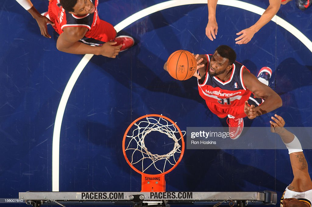 <a gi-track='captionPersonalityLinkClicked' href=/galleries/search?phrase=Chris+Singleton&family=editorial&specificpeople=241555 ng-click='$event.stopPropagation()'>Chris Singleton</a> #31 of the Washington Wizards goes to the basket during the game between the Indiana Pacers and the Washington Wizards on November 10, 2012 at Bankers Life Fieldhouse in Indianapolis, Indiana.