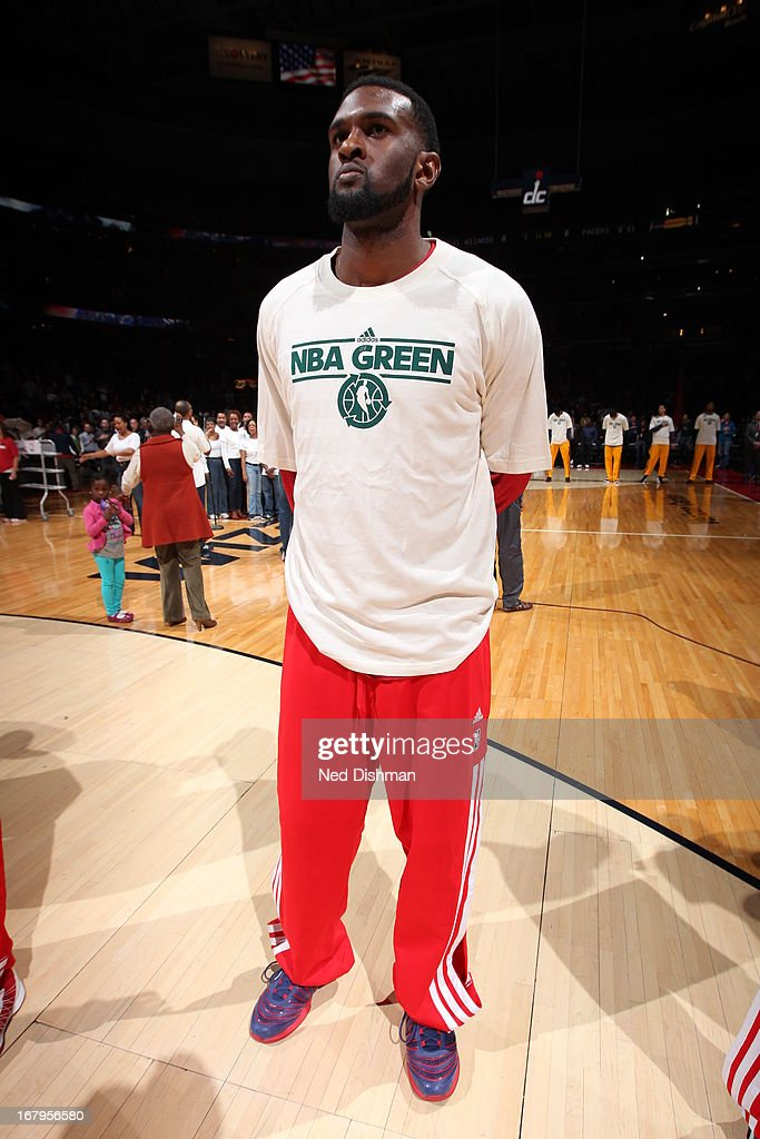 <a gi-track='captionPersonalityLinkClicked' href=/galleries/search?phrase=Chris+Singleton&family=editorial&specificpeople=241555 ng-click='$event.stopPropagation()'>Chris Singleton</a> #31 of the Washington Wizards stands on the court before the game against the Indiana Pacers at the Verizon Center on April 6, 2013 in Washington, DC.