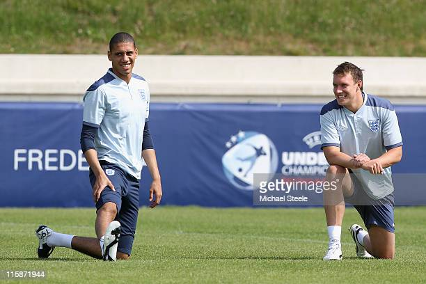 Chris Smalling and Phil Jones during the England U21's training session at Monjasa Park Stadium on June 11 2011 in Fredericia Denmark
