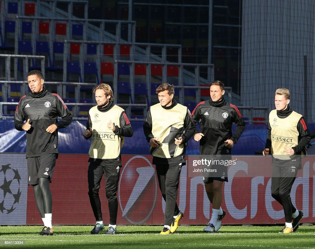 Chris Smalling, Daley Blind, Victor Lindelof, Nemanja Matic and Scott McTominay of Manchester United in action during a training session ahead of their UEFA Champions League match against CSKA Moscow at VEB Arena on September 26, 2017 in Moscow, Russia.