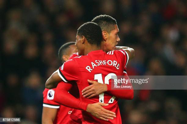 Chris Smalling of Manchester United and Marcus Rashford of Manchester United celebrates after Chris Smalling of Manchester United scored his sides...