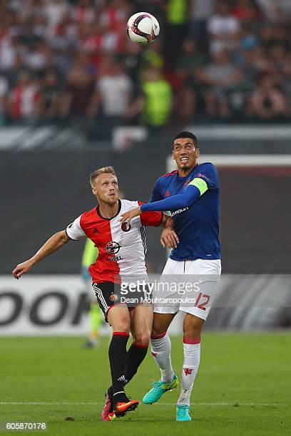 Chris Smalling of Manchester United and Nicolai Jørgensen of Feyenoord in action during the UEFA Europa League Group A match between Feyenoord and...