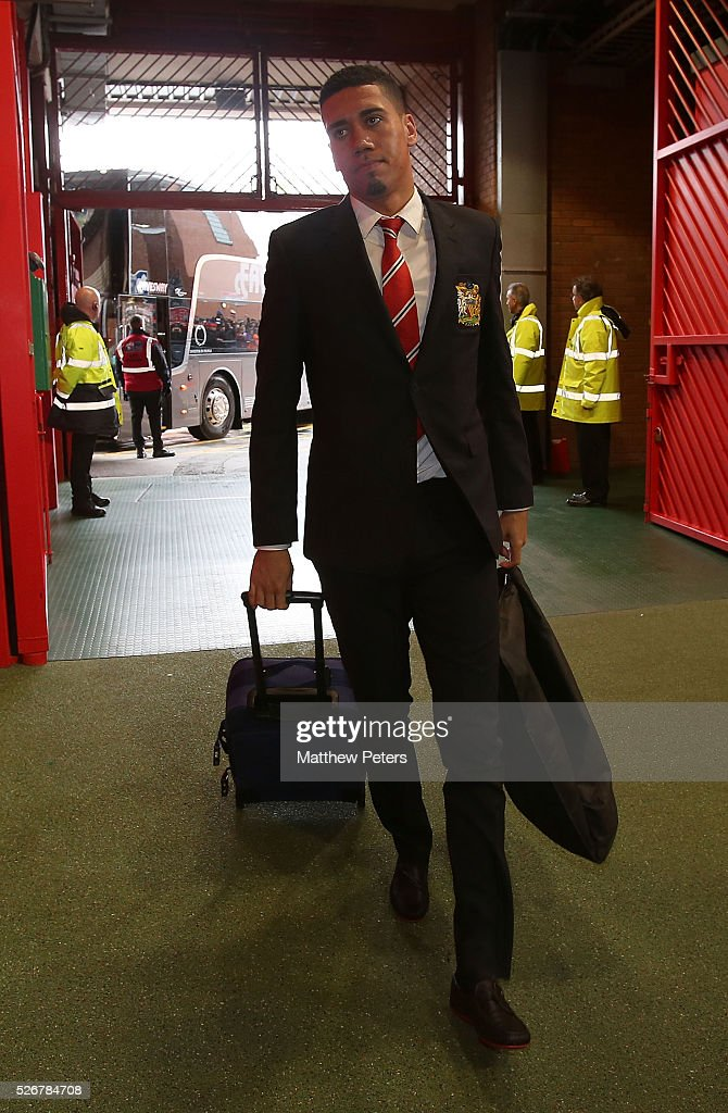 Chris Smalling of Manchester United arrives at Old Trafford ahead of the Barclays Premier League match between Manchester United and Leicester City at Old Trafford on May 1, 2016 in Manchester, England.