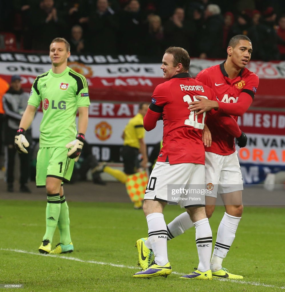<a gi-track='captionPersonalityLinkClicked' href=/galleries/search?phrase=Chris+Smalling&family=editorial&specificpeople=5964313 ng-click='$event.stopPropagation()'>Chris Smalling</a> of Manchester United celebrates scoring their fourth goal during the UEFA Champions League Group A match between Bayer Leverkusen and Manchester United at BayArena on November 27, 2013 in Leverkusen, North Rhine-Westphalia.
