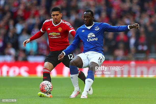 Chris Smalling of Manchester United closes down Romelu Lukaku of Everton during The Emirates FA Cup semi final match between Everton and Manchester...