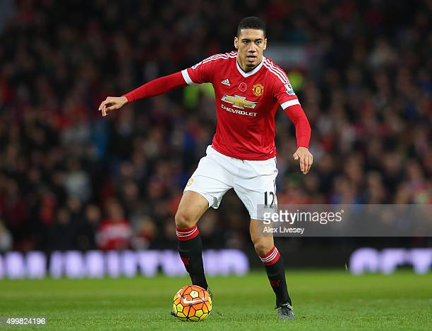 Chris Smalling of Manchester United during the Barclays Premier League match between Manchester United and West Bromwich Albion at Old Trafford on...