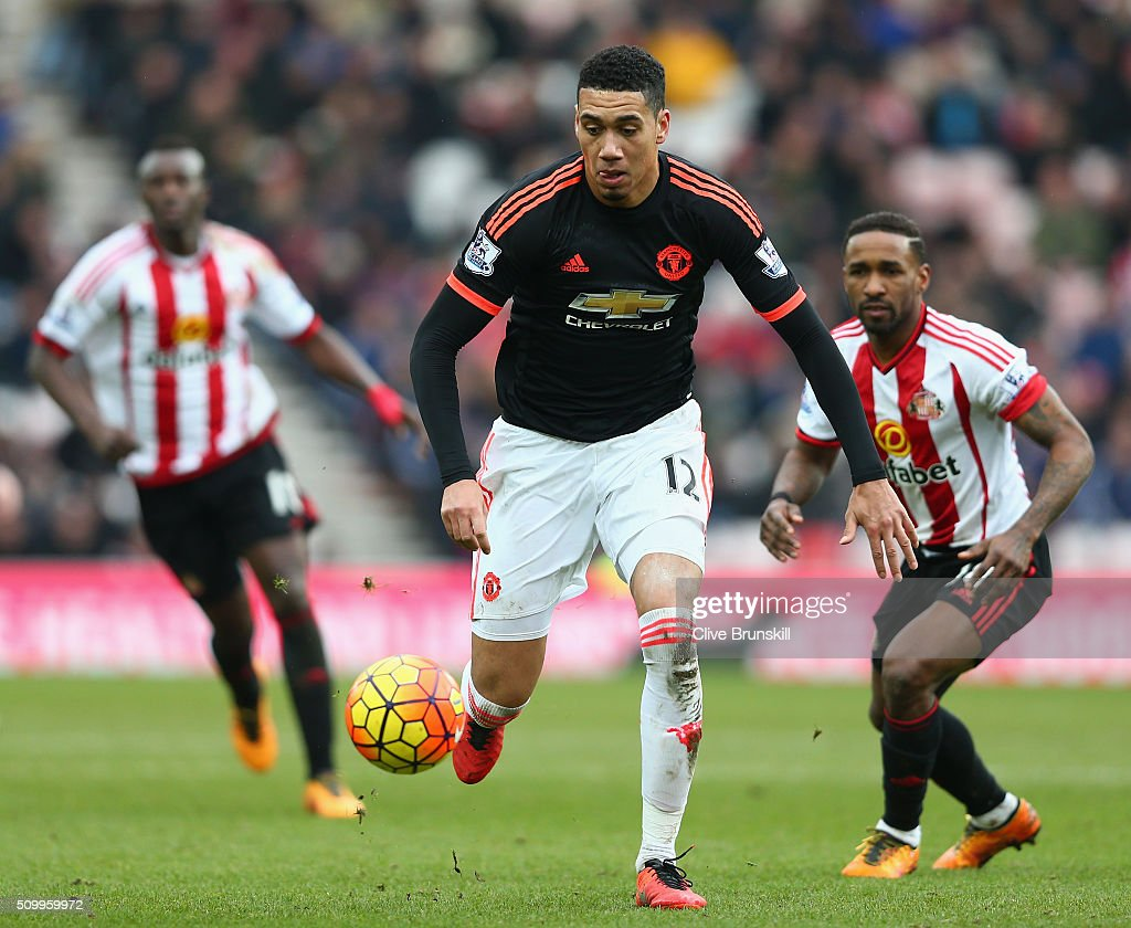 <a gi-track='captionPersonalityLinkClicked' href=/galleries/search?phrase=Chris+Smalling&family=editorial&specificpeople=5964313 ng-click='$event.stopPropagation()'>Chris Smalling</a> of Manchester United in action during the Barclays Premier League match between Sunderland and Manchester United at the Stadium of Light on February 13, 2016 in Sunderland, England.