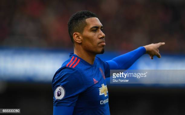Chris Smalling of Manchester United in action during the Premier League match between Middlesbrough and Manchester United at Riverside Stadium on...