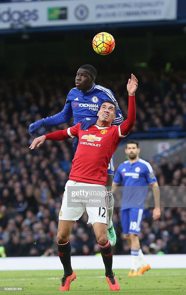 <a gi-track='captionPersonalityLinkClicked' href=/galleries/search?phrase=Chris+Smalling&family=editorial&specificpeople=5964313 ng-click='$event.stopPropagation()'>Chris Smalling</a> of Manchester United in action with <a gi-track='captionPersonalityLinkClicked' href=/galleries/search?phrase=Kurt+Zouma&family=editorial&specificpeople=7905425 ng-click='$event.stopPropagation()'>Kurt Zouma</a> of Chelsea during the Barclays Premier League match between Chelsea and Manchester United at Stamford Bridge on February 7 2016 in London, England.