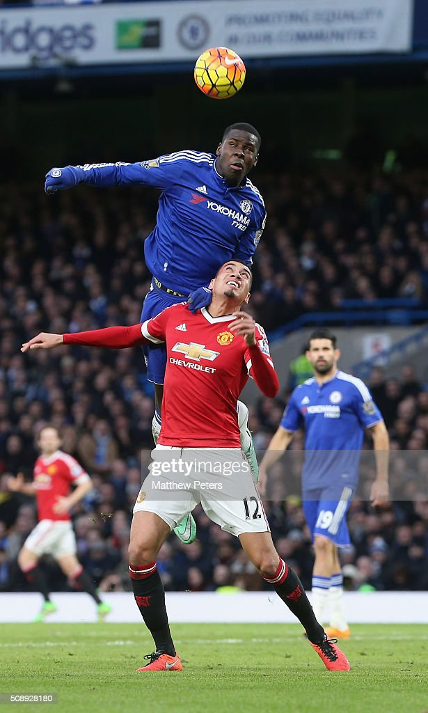 Chris Smalling of Manchester United in action with Kurt Zouma of Chelsea during the Barclays Premier League match between Chelsea and Manchester United at Stamford Bridge on February 7 2016 in London, England.