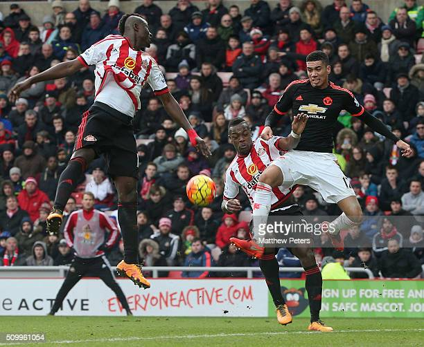 Chris Smalling of Manchester United in action with Lamine Kone of Sunderland during the Barclays Premier League match between Sunderland and...