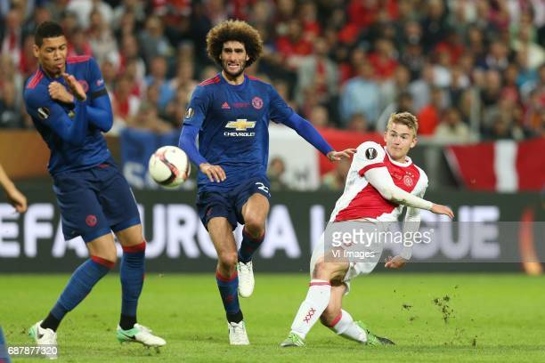 Chris Smalling of Manchester United Marouane Fellaini of Manchester United Matthijs de Ligt of Ajaxduring the UEFA Europa League final match between...
