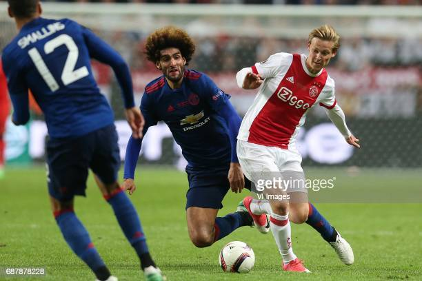 Chris Smalling of Manchester United Marouane Fellaini of Manchester United Frenkie de Jong of Ajaxduring the UEFA Europa League final match between...