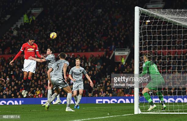 Chris Smalling of Manchester United scores his second goal during the Barclays Premier League match between Manchester United and Burnley at Old...