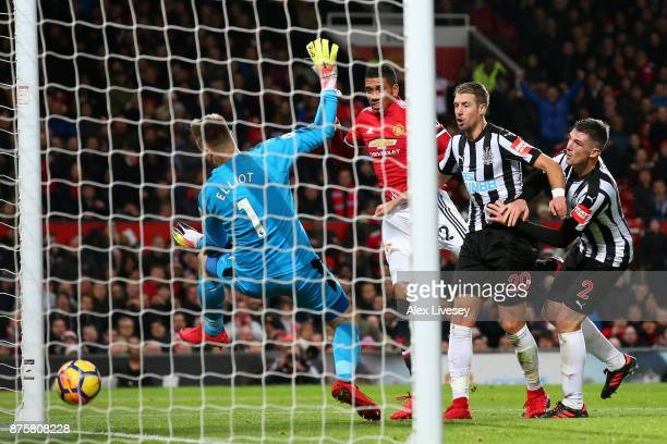 Chris Smalling of Manchester United scores his sides second goal during the Premier League match between Manchester United and Newcastle United at...