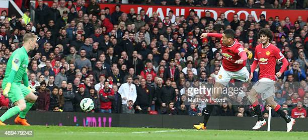 Chris Smalling of Manchester United scores their fourth goalduring the Barclays Premier League match between Manchester United and Manchester City at...