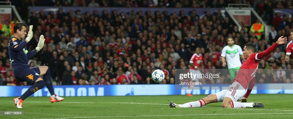 Chris Smalling of Manchester United scores their second goal during the UEFA Champions League Group C match between Manchester United and Wolfsburg at Old Trafford on September 30, 2015 in Manchester, United Kingdom.