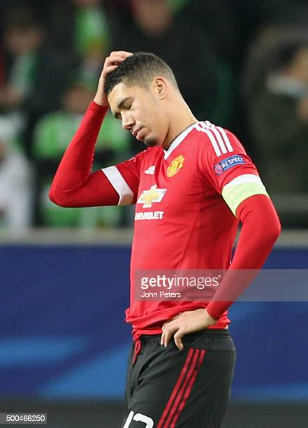 Chris Smalling of Manchester United shows his disappointment during the UEFA Champions League match between VfL Wolfsburg and Manchester United at...