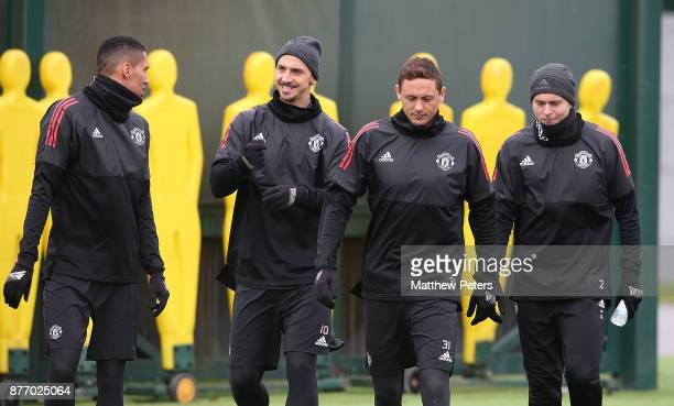 Chris Smalling Zlatan Ibrahimovic Nemanja Matic and Victor Lindelof of Manchester United in action during a first team training session at Aon...
